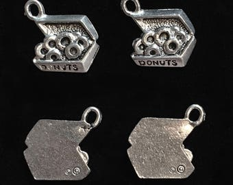 4 Silver Pewter Box of Donut Charms, Doughnut Charms, Pastry Charms  (qb110)