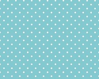 ON SALE Riley Blake Basic White Swiss Dots on Aqua