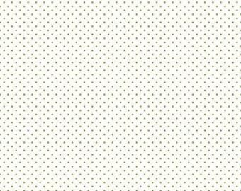 15%OFF Riley Blake Basic Sparkle Gold Swiss Dot On White