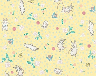 15% OFF Penny Rose Fabrics Bunnies and Blossoms Main Yellow