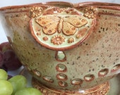 Handmade Ceramic Colander - Butterfly Berry Bowl - Strainer with Handles