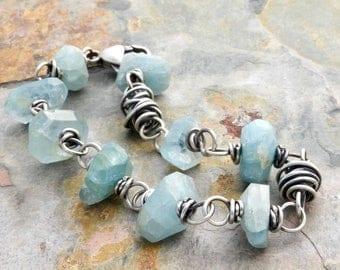 Aquamarine Birthstone Bracelet, Sterling Silver, March Birthday, Blue Green Gemstones, #4615