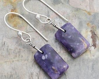 Minimalist Purple Earrings, Morado Purple Opal Dangle Earrings with Sterling Silver, Mexican Opal Gemstones, October Birthstone, #4829