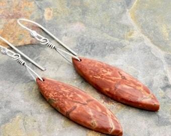 Red Creek Jasper Earrings - Red Orange Gemstone Earrings - Cherry Creek Jasper - Marquise Stone Dangle - Sterling Silver - #4866