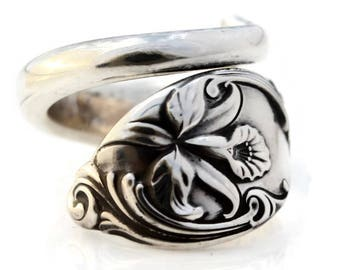 Spoon Ring Sterling Silver Enchanting Orchid Westmorland Silver 1950 Size 6-15