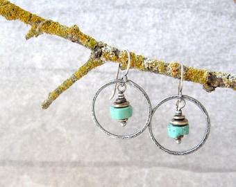 turquoise earrings, silver earrings, rustic stone earrings, sterling ear wires, oxidized silver, boho hoop earrings, southwest jewelry