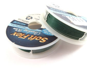Dark Green Medium SoftFlex Beading Wire Professional Quality 49 Strand .019 inch Clear Coated Stainless Steel - 10 ft - STORE