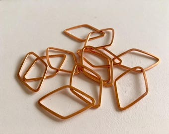 Copper Metal Links-12 Piece Copper Diamond Links