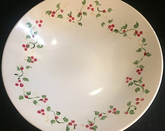 "Large Flared Bowl- Hand painted with ""Winter Berry"" design"