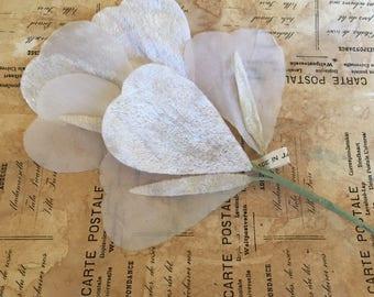 """Vintage Millinery Silk & Velvet Flutters in White (8"""")"""