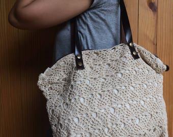 Free shipping Bohemian style lace hemp crochet bag