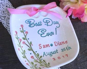 Best Day Ever - Ring Pillow Alternative, Ring Bearer Pillow, Wedding Ring Holder, Ring Dish Personalized, Ring Dish Wedding, Ring Warming