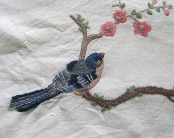 Embroidery Panel . Crewel embroidery .cherry blossom embroidery .  crewel flowers . crewel blue bird