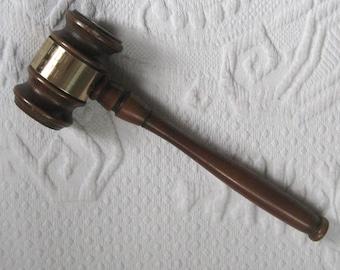 wood and brass gavel . wood gavel . retro wood gavel . engraved wood gavel . republican club gavel