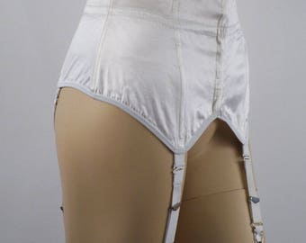 Vintage Lewella White Satin Waist Cincher with Metal Garters