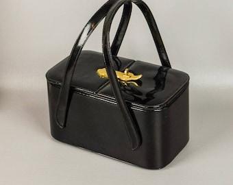 Vintage 1950s Box Purse Black Vinyl Double Handle Handbag by Etra
