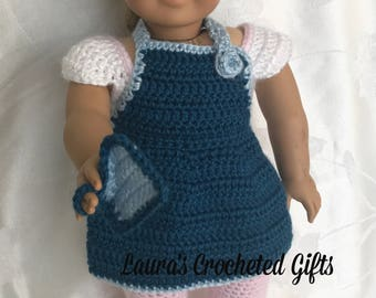 Doll Apron and Potholder, Handmade Crochet Doll Clothes, Doll Apron, Blue Doll Apron, Accessories for 18 inch Doll, Baking Apron for Doll