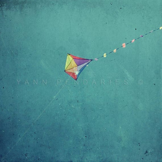 Fine art photography, Geometric, Triangle, Summer trends, Kite, Blue decor, living room decor, aquamarine, wall decor affordable