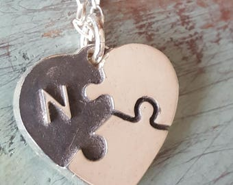 Puzzle Piece Heart Necklace Silver CUSTOM ORDER