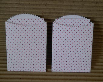 10 x small red white spots pocket envelopes & insert.wedding 2.75 x 4in mini bags scrap booking, children party