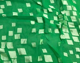 Burnout Devore Satin - Bright Kelly Green Hand Dyed Geometric- 1 Yard
