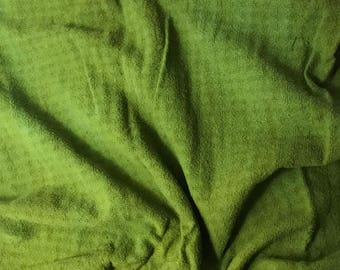 """Avocado Green - Hand Dyed Checkered Weave Silk Noil - 18""""x27"""""""