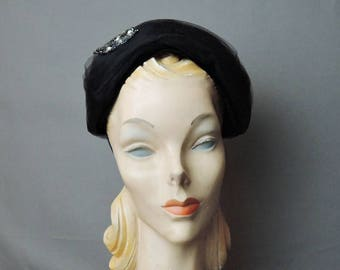 Vintage Black Tulle Hat with Sequin Applique, 1950s 1960s, 21 - 22 inch head