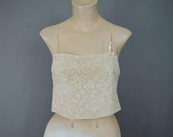 Vintage 1920s Lace Bra, Antique Flapper Bandeau Camisole Brassiere 34 bust