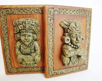vintage zarebski mexican mayan aztec bookends
