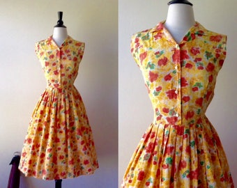 All Ablaze Rose Dress | 1950s