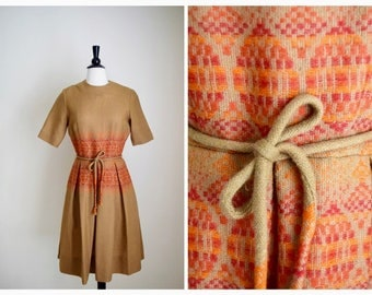 Stacy Ames embroidered dress | vintage 1950s dress | wool 50s folk dress