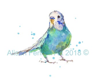 Watercolor Budgie Print, budgie painting