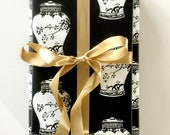Wrapping Paper Chinoiserie Gift Wrap Black Wrapping Paper Ginger Jar Paper Roll Chinoiserie Design All Occasion Paper Party Supplies