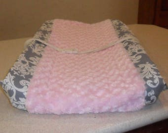 Gray Damask and Light Pink Rosebud Minky Changing Pad Pillow Cover