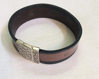 On Sale Denim leather cuff bracelet. Unisex cuff bracelet. Magnetic clasp.