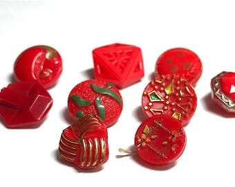 Lot Of Nine Vintage Glass Buttons - Red - Lusters - Hand Painted