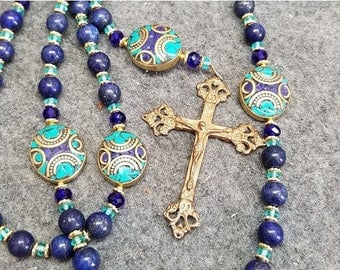 SALE Rosary Lapis Guadalupe Unique Handmade Our Fathers Cathoic Gift HeartFelt Rosaries