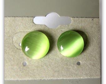 Peridot Cat Eye Earrings, Fiber Optic Cabochon, Green Cabochon, GreenEarrings, Button Earrings,  Silver Plated posts 8mm Item #1251