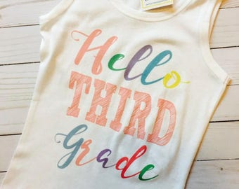 Hello First Second Third Fourth Fifth Kindergarten shirt with name for girls BLUE