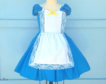 ALICE IN WONDERLAND dress, Alice in Wonderland costume, baby 1st  birthday dress, baby dress for girls, turquoise Alice dress, mad tea party