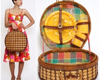 Vintage 1960s Round Woven Wicker Picnic Basket with Rainbow Plaid Interior and Unused Yellow Cups and Plates