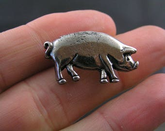 Pig Brooch, Pig Jewelry, Good Luck Pin, Pig Gifts, Good Luck Jewelry, Good Luck Token, Good Luck Gift, Silver Brooch, Brooch Pin, P235