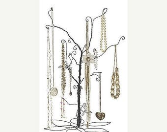 STOREWIDE SALE 24 Inch Tall Forged Wire Jewelry Display Whimsical Design Tree