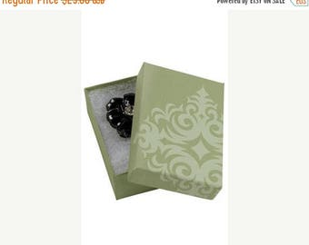 New Years Sale 50 Pack of 3.25X2.25X1 Inch Size High Quality Sage Damask Cotton Filled Jewelry Presentation Boxes