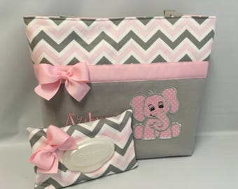 CHEVRON Zoom  in PINK and Gray   ..Elephant  Design  ... Diaper Bag and Wipe Cover SET ... Monogrammed  FReE