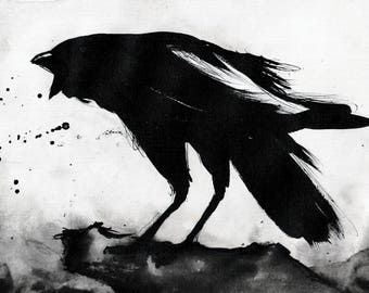Crow art- Ink on 8x12in canvas, A4, 20x30cm