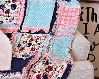 Floral Nursery Baby Girl Rag Quilt - Turquoise Blue / Navy / Coral Crib Bedding - Boho Crib Bedding - Whimsical Nursery - Princess Quilt