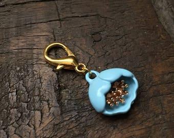 Blue Linen Flower Zipper Charm