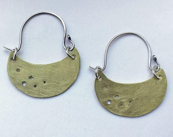 Crescent and Stars Hoop Earrings