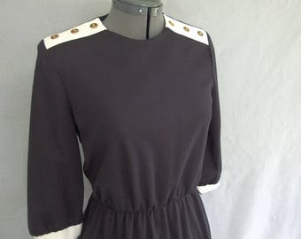 Vintage 1970s Black and White Dress - Modern Size 4, Extra Small